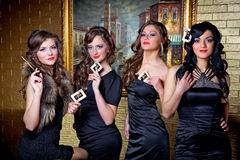 Four queens of poker Stock Photo