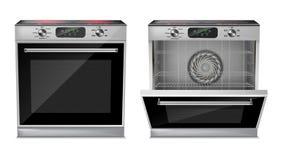 Four réaliste de vecteur avec le cooktop d'induction Image libre de droits