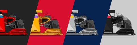 Four racing cars in different colors split vector illustration