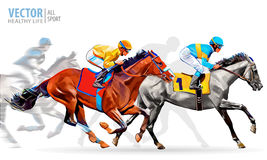 Four racing horses competing with each other, with motion blur to accent speed. Vector illustration. Four racing horses competing with each other, with motion Stock Image