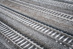 Four railroad tracks. Aerial perspective view. Royalty Free Stock Photography