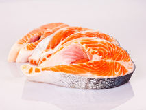Four raw salmon steaks. Four fresh raw salmon steaks are laying Royalty Free Stock Photography