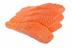 Raw salmon  isolated on white Stock Images