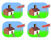 Four real estate icons vector illustration