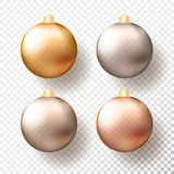 Four realistic Christmas or New Year transparent Baubles, spheres or balls in different shades of metallic gold and. Silver color with golden caps and shadow stock illustration