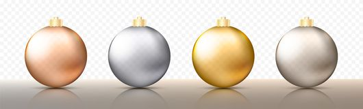 Four realistic Christmas transparent Baubles, spheres or balls in different shades of metallic gold and silver color. With golden caps. Vector illustration vector illustration