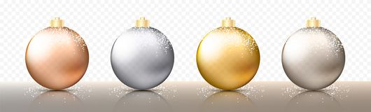 Four realistic Christmas transparent Baubles, spheres or balls in different shades of metallic gold and silver color. With golden caps and snow or snowflakes stock illustration