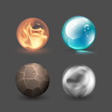 Four realistic elements vector illustration