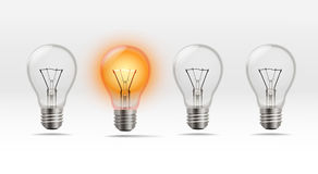 Four realistic lamps Royalty Free Stock Photo