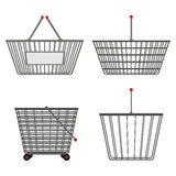 Four realistic metallic chrome wire empty baskets of different shapes. Vector illustration Royalty Free Stock Images