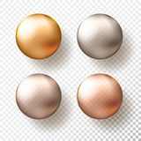 Four realistic transparent spheres or balls in different shades of metallic gold color. Vector illustration eps10.  vector illustration