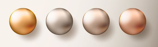Four realistic transparent spheres or balls in different shades of metallic gold color on white background. Vector illustration ep. S10 royalty free illustration