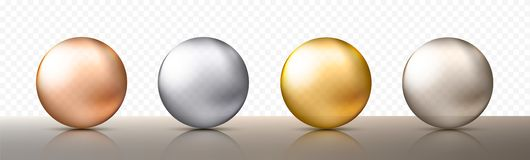 Four realistic transparent spheres or balls in different shades of metallic gold and silver color. Vector illustration. Eps10 vector illustration