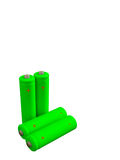 Four rechargeable green eco batteries Royalty Free Stock Photos