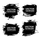 Four rectangular abstract textured black strokes vector objects Stock Image