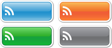 Four rectangular vector RSS buttons. Green, blue, orange and gray Royalty Free Stock Photos