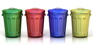 Four recycle bins for recycling paper, metal, glass and plastic Stock Photos