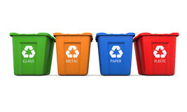 Four recycling bins Royalty Free Stock Image