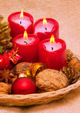 Four red Advent candles. Royalty Free Stock Image