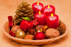 Four red Advent candles. Royalty Free Stock Photo