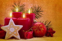 Four red advent  candles. Royalty Free Stock Photography
