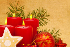 Four red advent  candles. Royalty Free Stock Photos