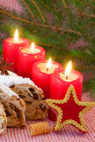 Four red advent  candles. Royalty Free Stock Images