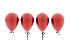 Four red balloons rendered isolated Royalty Free Stock Photos