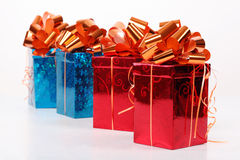 Four red and blue beautiful gift boxes Stock Image