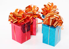 Four red and blue shiny gift boxes Stock Image