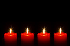 Four red burning candle for Advent. 4 red burning candle for Advent Royalty Free Stock Photo