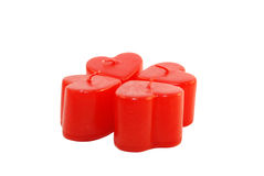 Four red candles stock photography