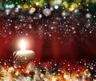 Four red candles with christmas balls in atmospheric light Royalty Free Stock Photos