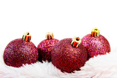 Four red Christmas ball Stock Images