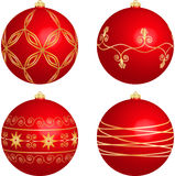 Four Red Christmas Balls Stock Photography