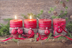 Four red christmas candle. For advent Stock Photography