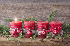 Four red christmas candle. For advent Stock Photo