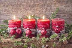 Four red christmas candle. For advent Royalty Free Stock Photo