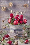 Four red christmas candle Stock Image