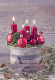 Four red christmas candles Royalty Free Stock Photo