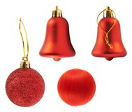 Four red decoration figures isolated Royalty Free Stock Photos