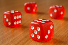 Red transparent dices stock photo