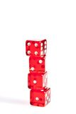 Four red dice in stacked with space for text Royalty Free Stock Photo