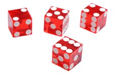 Four red dices Royalty Free Stock Photos