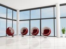 Four red fashion armchair Royalty Free Stock Photos