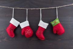 Four Red Felt Christmas Ornaments Stock Photography