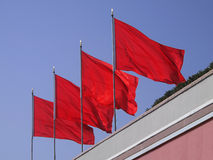 Four Red Flags Royalty Free Stock Photography