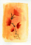 Four Red Flowers. Watercolour painting of four red flowers against an orange background Royalty Free Stock Images