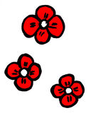 Four red flowers Royalty Free Stock Photos