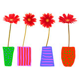 Four red gerbera flower Royalty Free Stock Photography